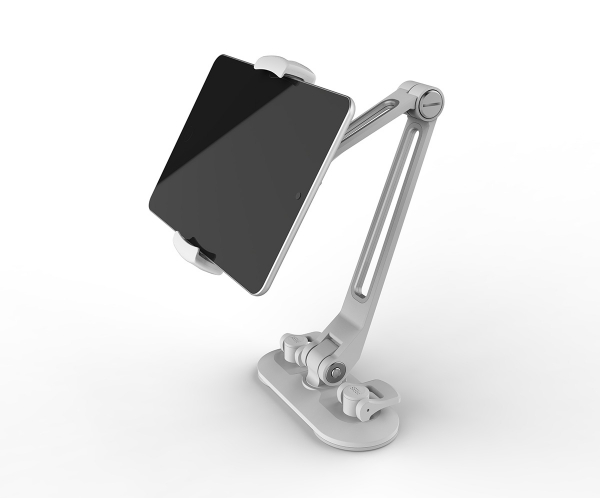 Universal mounting holder for smartphones and tablets with suction foot, white